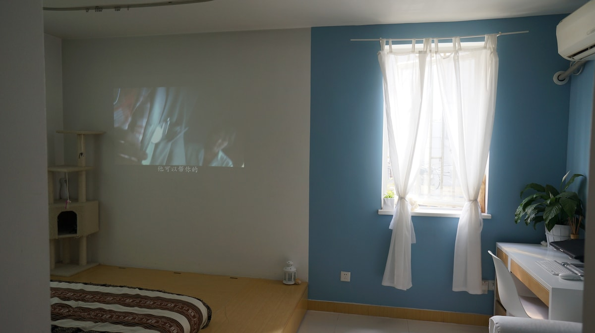 Bedroom with projector on. Watch a movie lying on the bed at night! (cat climbing shelf removed)