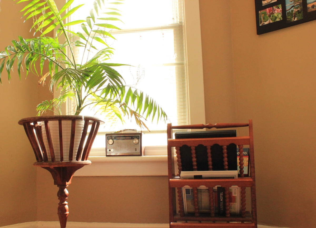 Your private Room is brightly lit by a south facing window. the antique magazine rack holds city maps, guides to the city and my own personalized suggestions. There is also a tv and dvd player in the room when you're not out exploring!