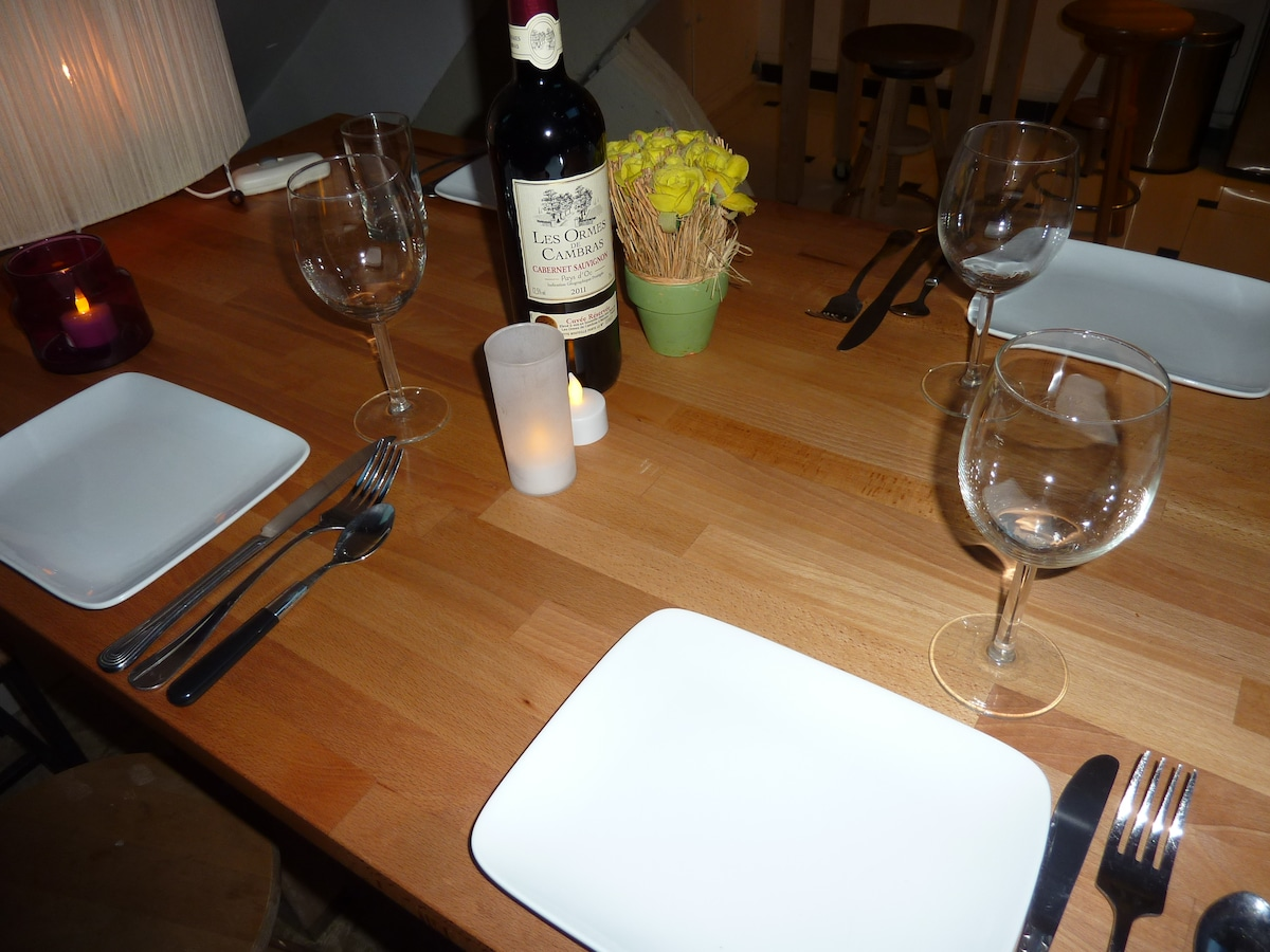 Cozy Familial meal at home among friends, or romantic, tête à tête, staying-in relaxing for two or more. !