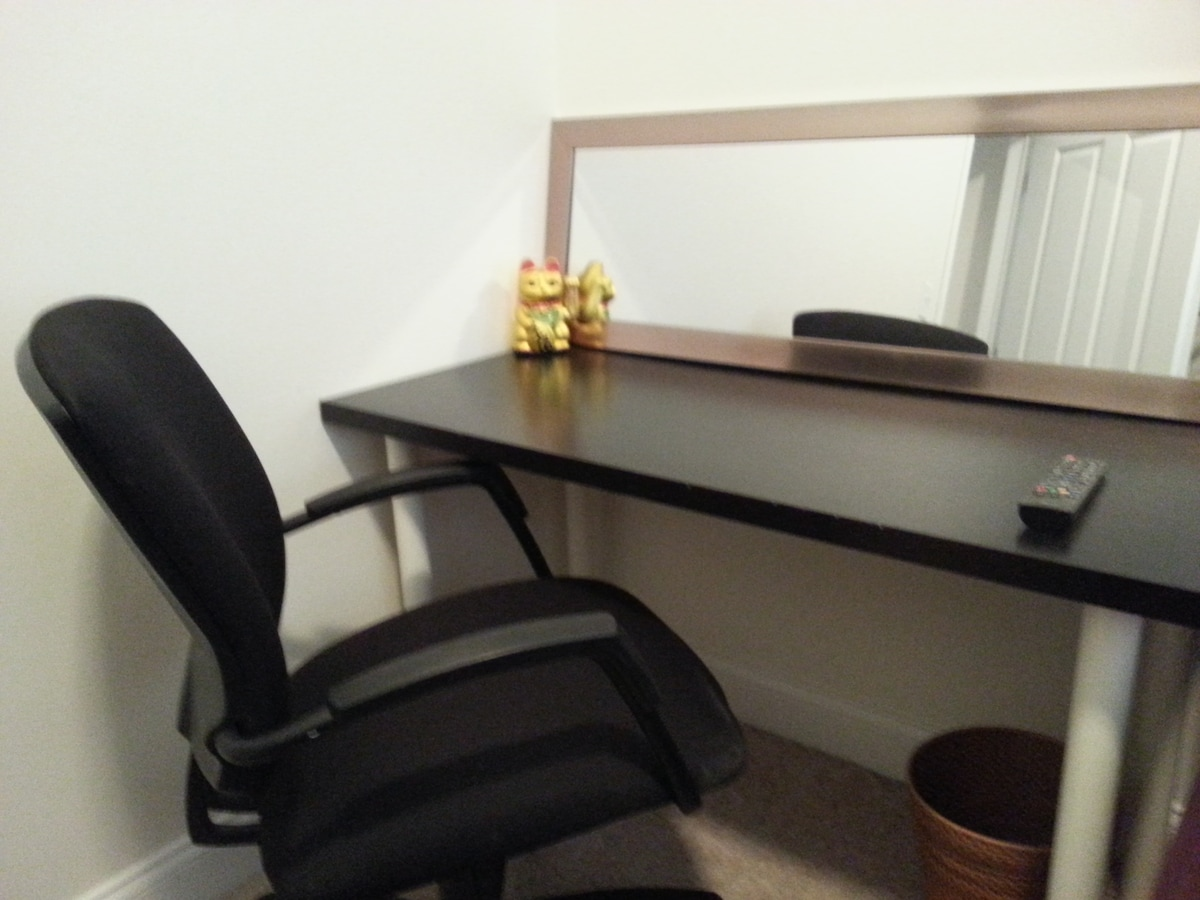 Look at this Desk with LUCKY CAT included to bring luck during your stay!