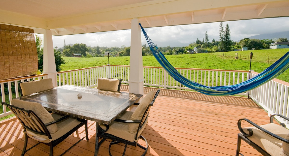 Back Lanai with open spaces and amazing views of Mnt Waialiali (wettest place on earth)