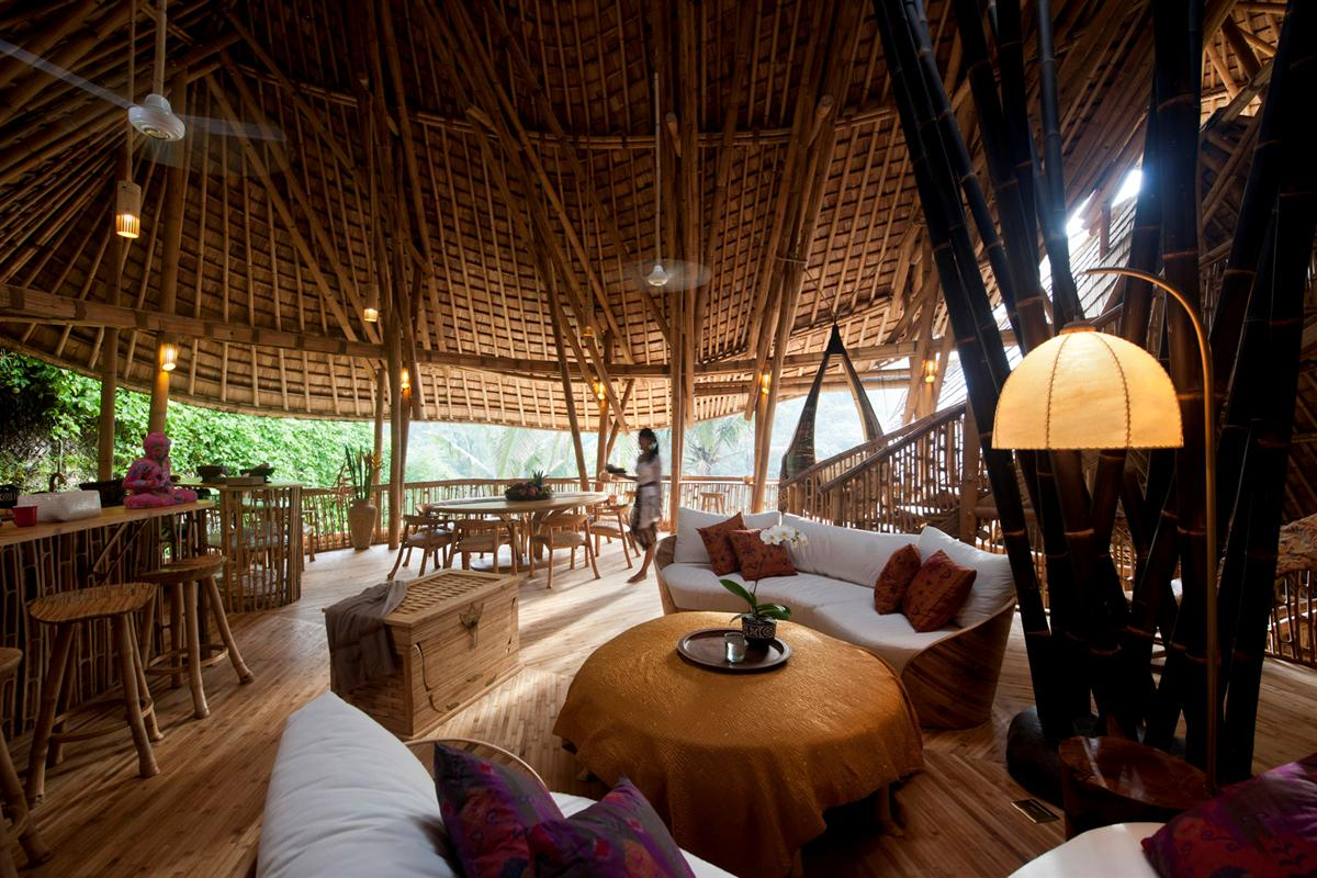 The bamboo architecture is breathtaking, and so are the river valley views. Ceiling fans visible top left and top centre