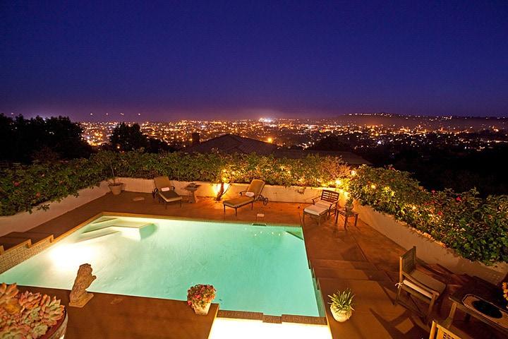 Kitchen level view of Santa Barbara views at dusk
