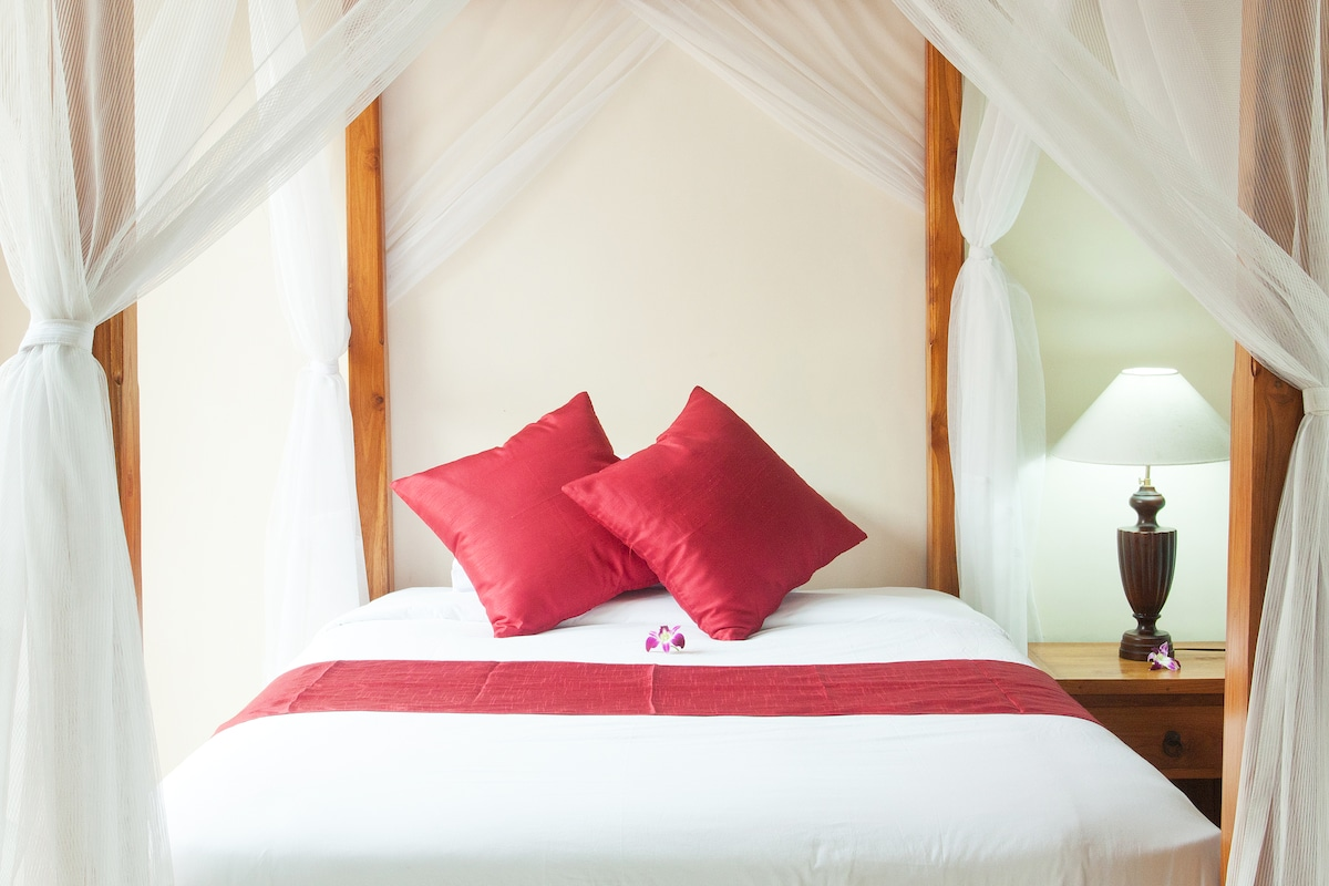 A comfortable mattress and a mosquito net make for divine dreams.
