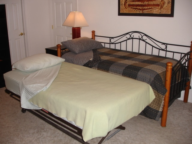 Pop up trundle bed hides under the Day Bed for an extra guest.