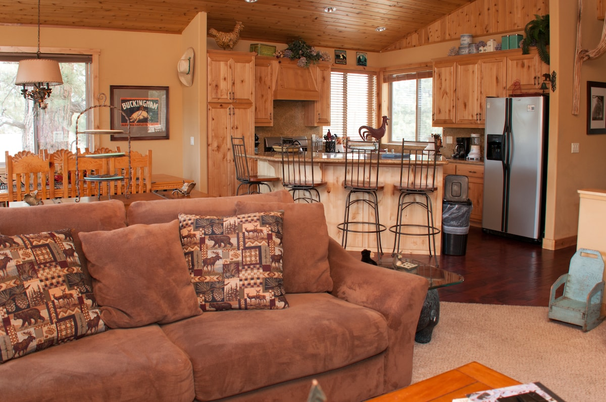 expansive living/dining/gourmet kitchen with pull out couch