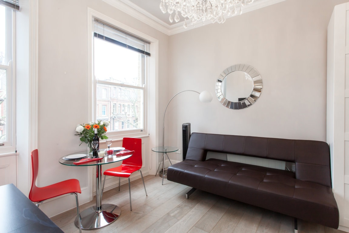 The living room with the sofabed used as a sofa
