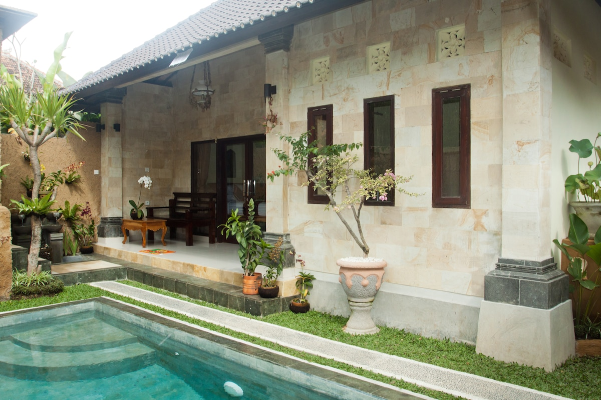 The villa boasts a private pool (The view from the second house).