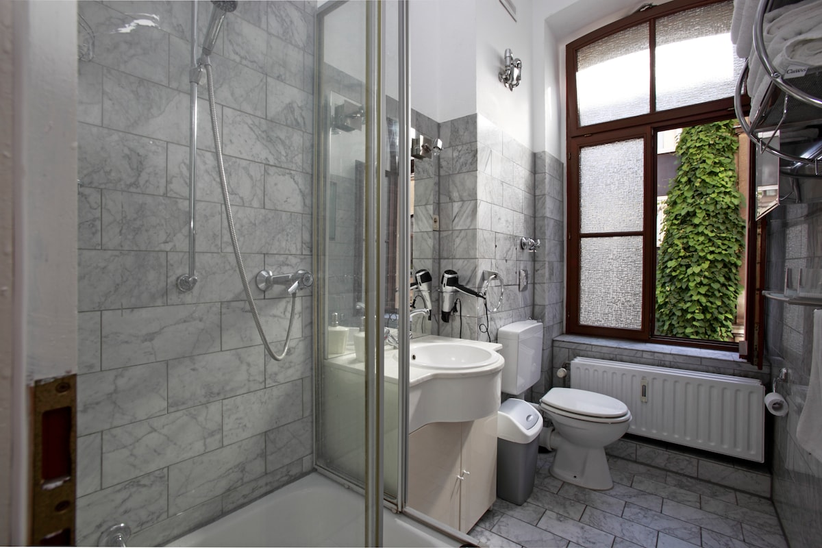 Spacious marble-tiled bathroom with high-pressure shower head,hair-dryer and medicine cabinet for essentials.