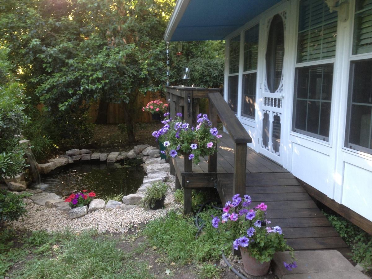 Welcome to your garden, goldfish pond, verandah and front door!