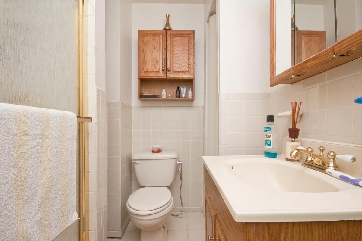 Clean shared bathroom.