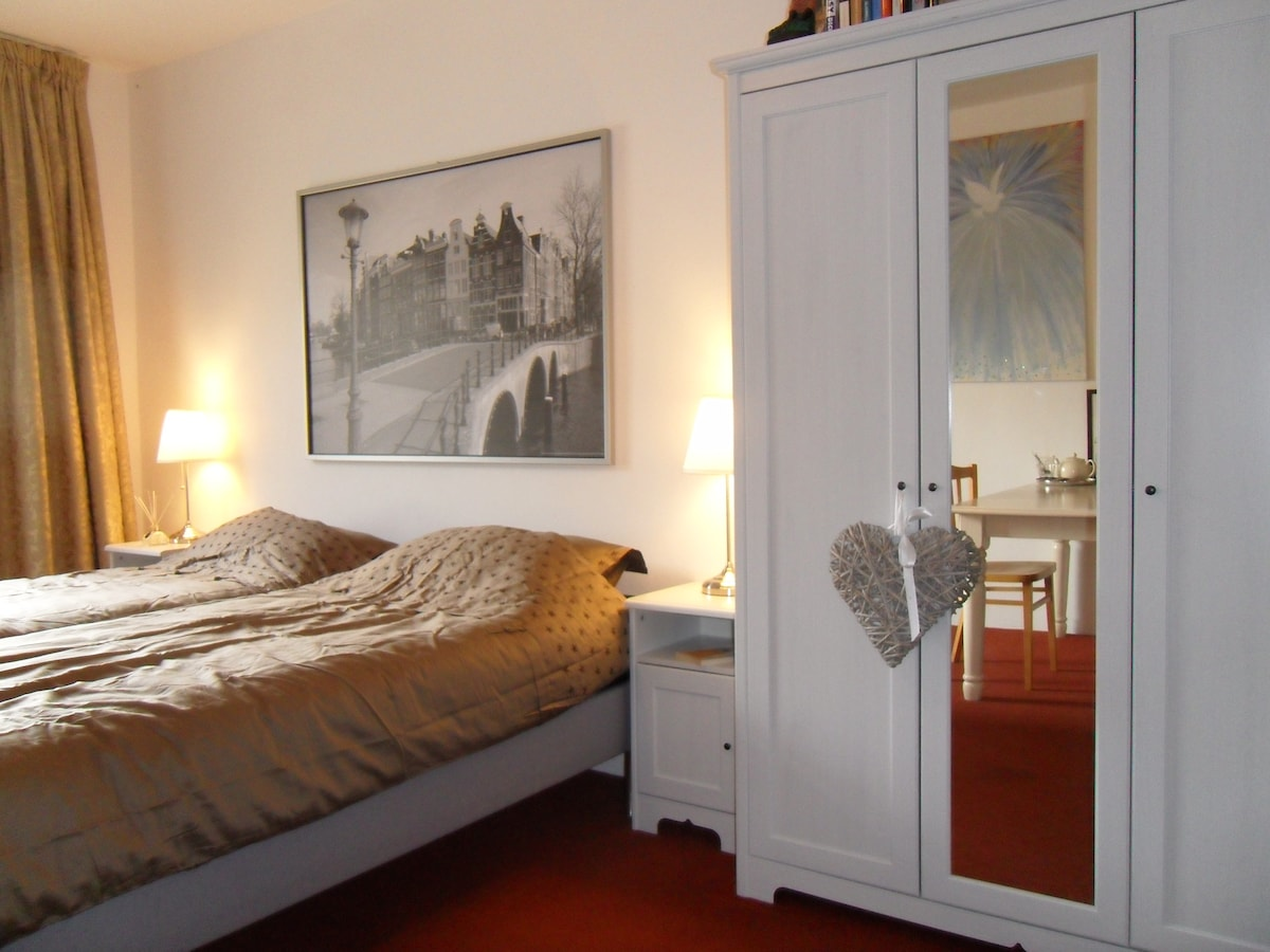 The beds and the closit on the right. Notice the big mirror!