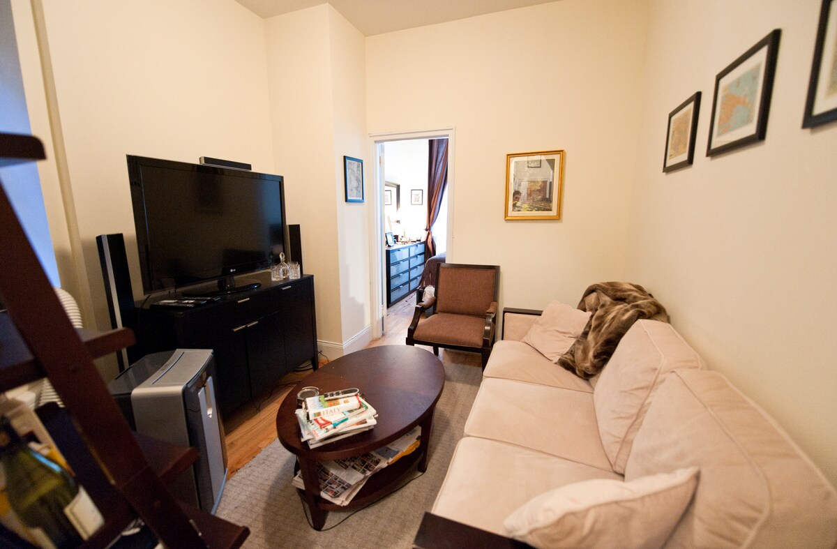 Living room with HDTV and Apple TV (Netflix/HBO Go)
