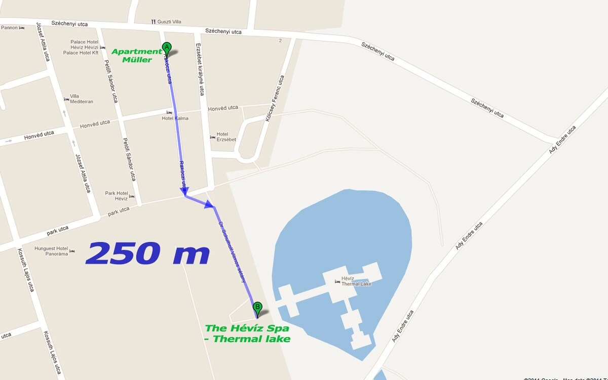 the apartment's distance from the thermal lake