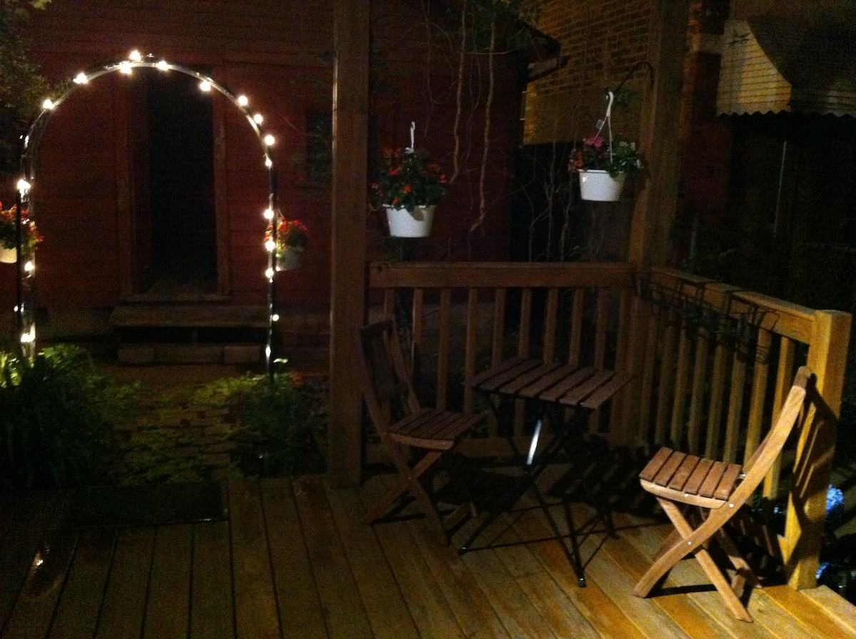 Our patio at night. Turn on the lights by plugging them in to the extension cord that's hidden behind the lilies' foliage to the left.