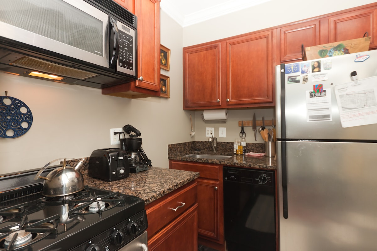 Kitchen is fully equiped with stove, oven, dishwasher, full size fridge, coffee maker and toaster.