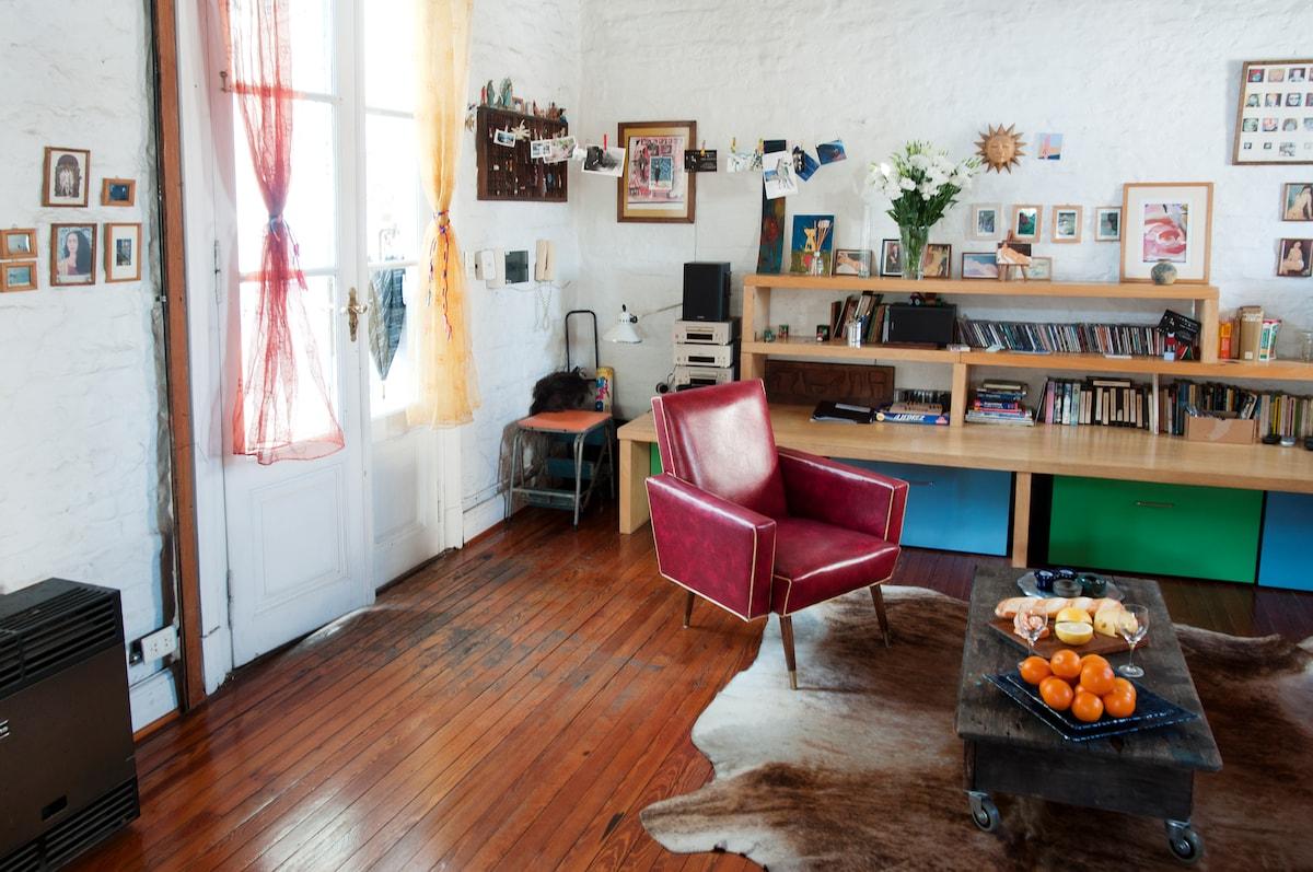 Great bones. The wooden floors, brick walls, vaulted brick ceilings. It's authentic.