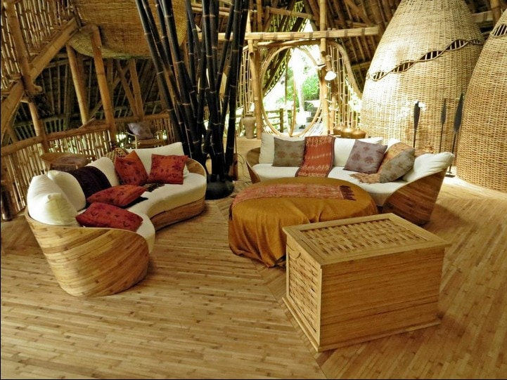 Lounge. A retractable satellite TV is housed in the bamboo box
