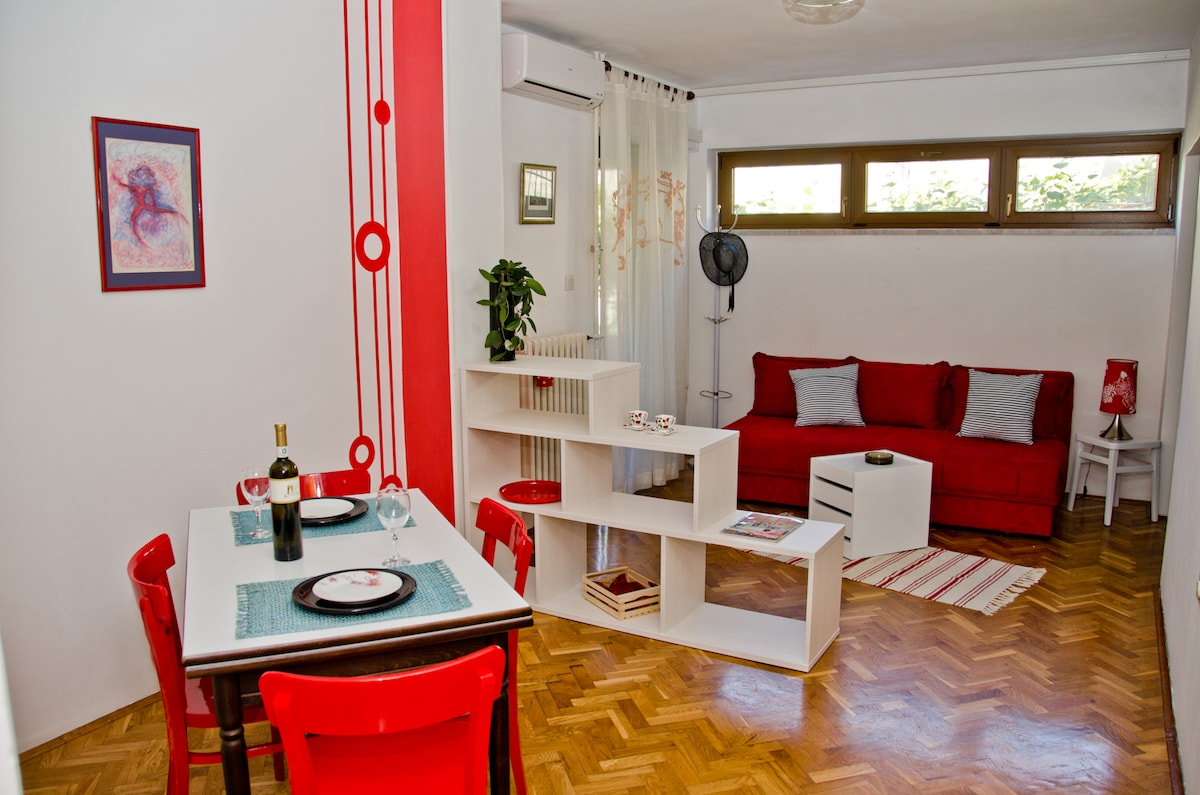 Comfy apartment with shady terrace
