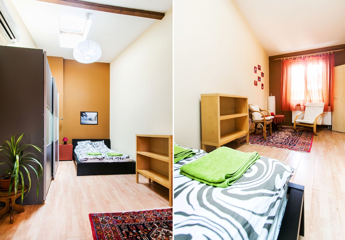 smaller room with a double bed