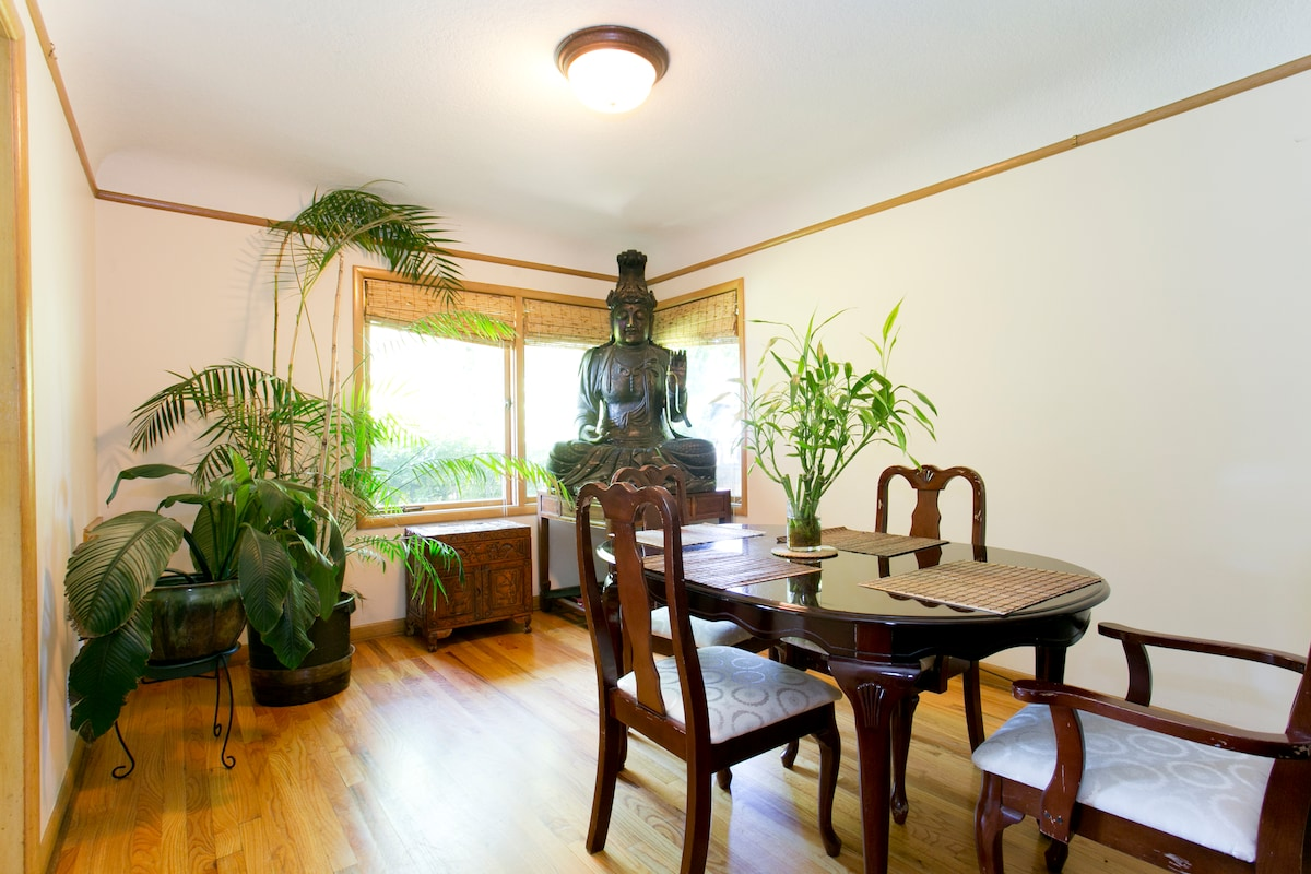 The Dining Room, with our Buddha watching over you.
