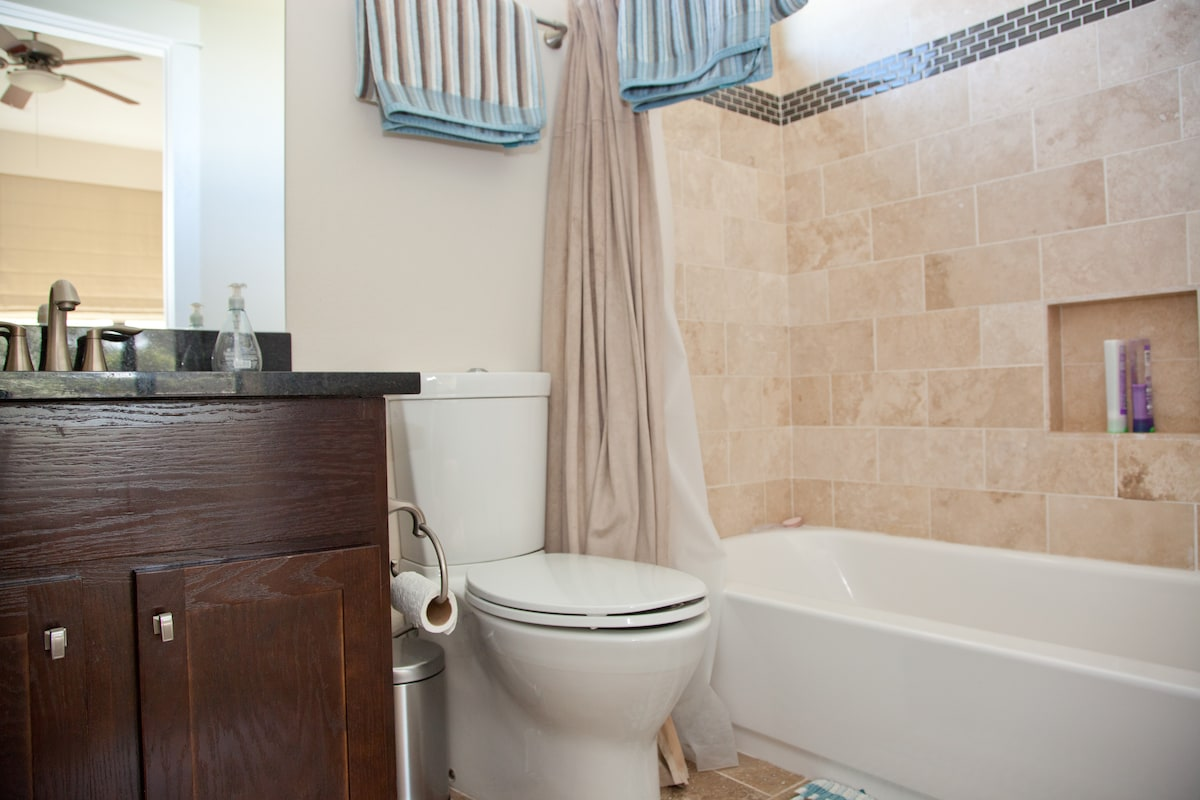 Your own private bath accessed through the bedroom.