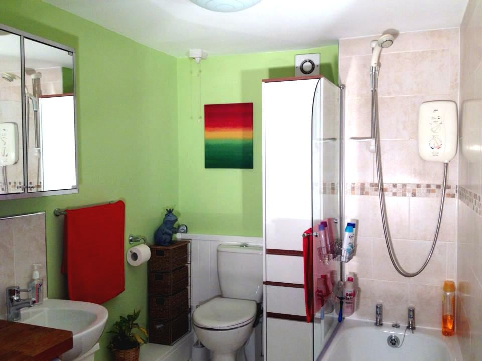 Recently decorated, clean bathroom.  Good electric shower over bath.  Lots of space/racks in shower and by sink, for shampoo, toothbrushes etc.  A cup will be provided for your toothbrush & space for your toiletries!