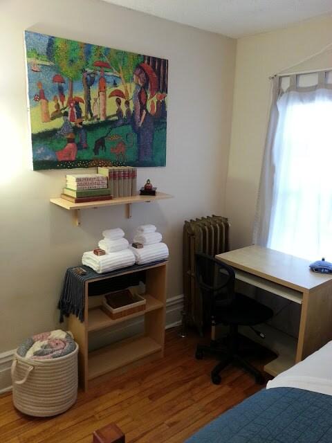 Your Bedroom 2  (quilt, towels, books, desk, window)