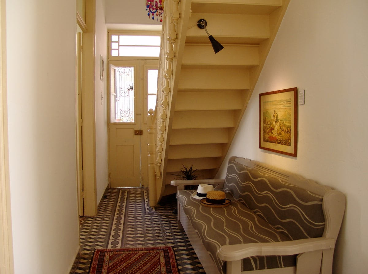 Our hallway with stairs to the first floor.