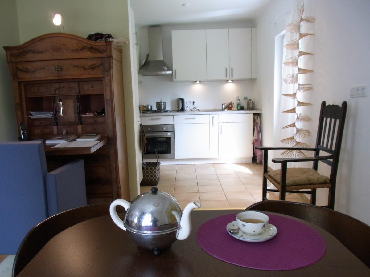 Offene Küche mit Ausgang zum Garten