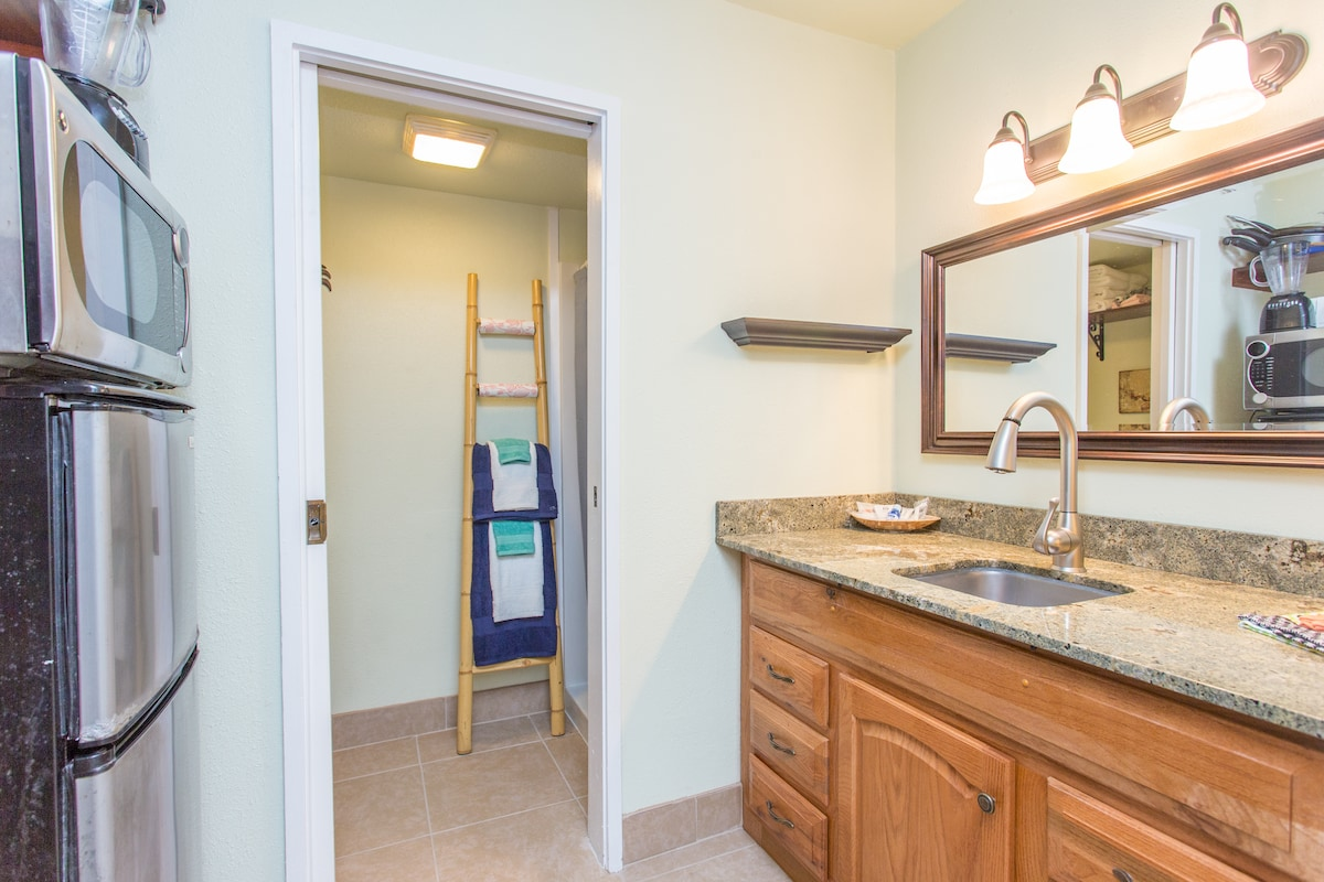 Kitchen/bathroom counter and sink with hairdryer, iron, soaps, shampoos, even toothbrushes!  Just bring your clothes!