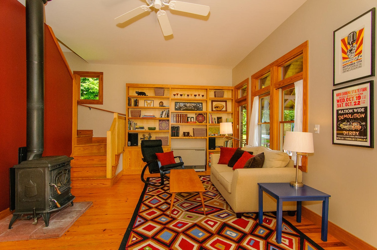 Fun, cozy living room with woodstove