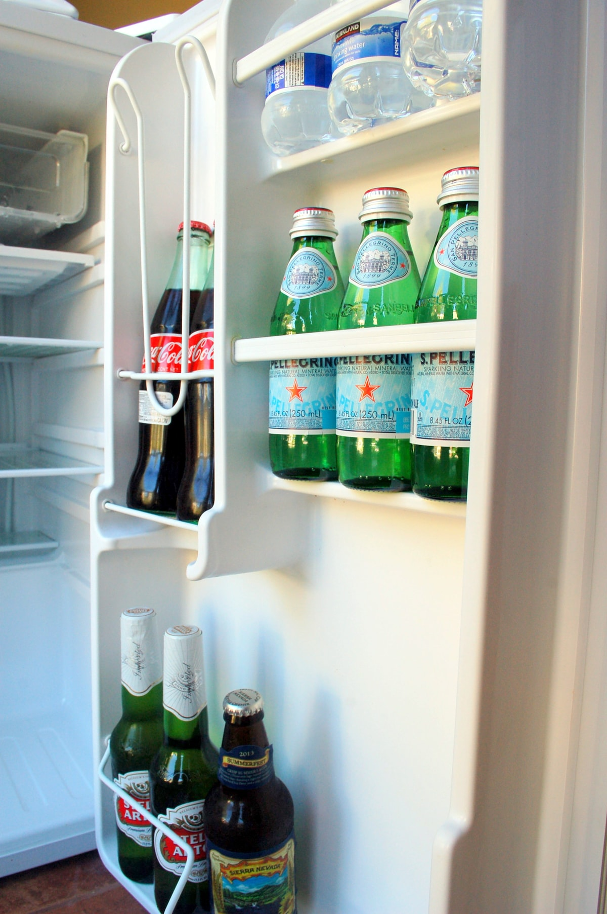 Fridge is stocked with sparkling water, soda, beer etc.  Help yourself!