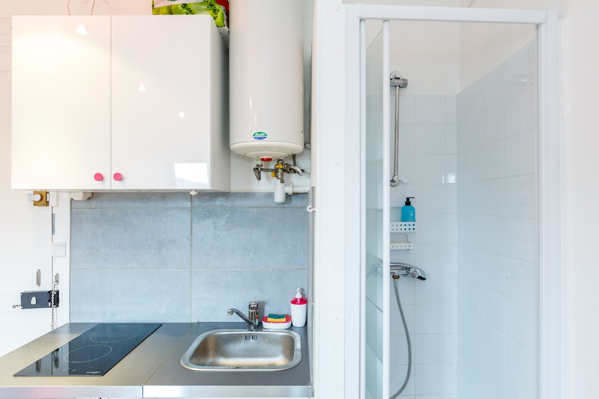 Triple lock on entrance door for security; Sink and stove plaque convenient with shower/toilet combination close. Additional 2nd toilet in hall.