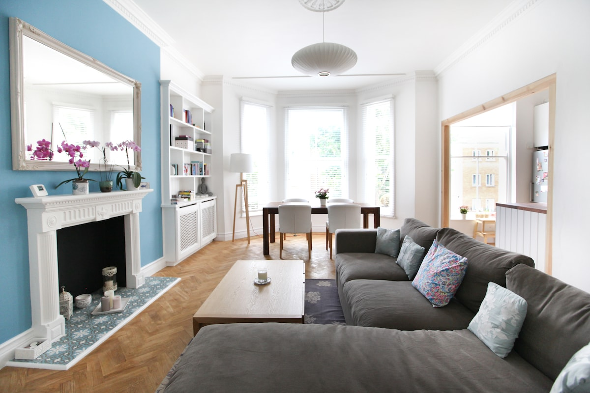 Bright living room with dining area