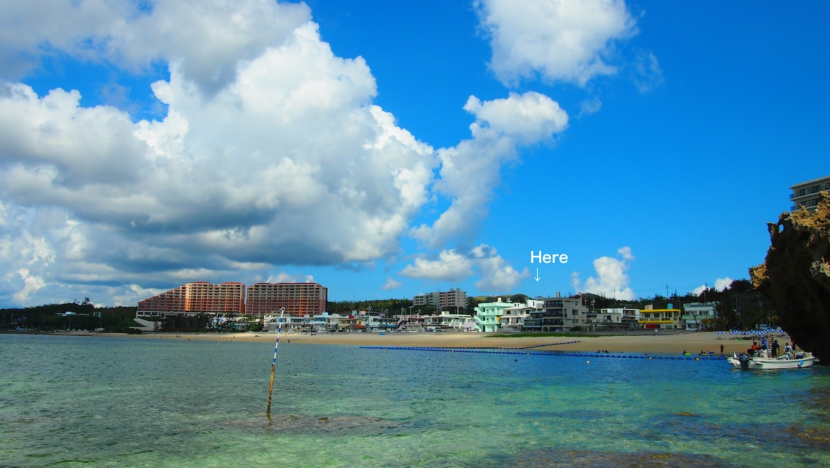 Beach Side View from Sea Kayak, you can find our house.  カヤックに乗って沖合から別荘を望む