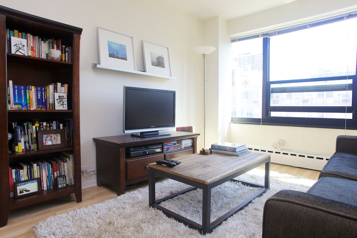 High-rise, one bedroom apartment along Lake Michigan and near downtown Chicago