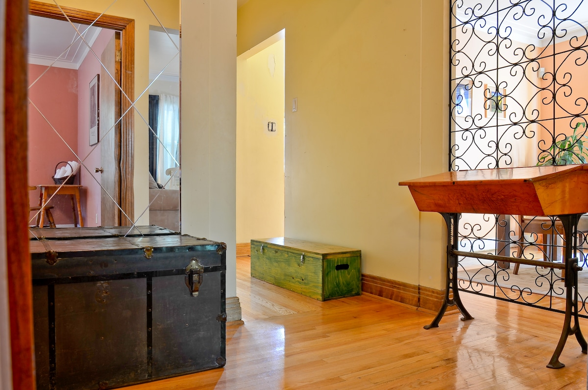 The bright and sunny foyer
