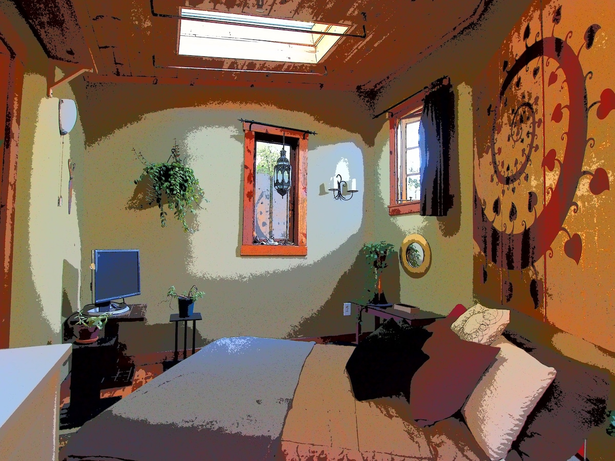 Hobbit House room with skylight above