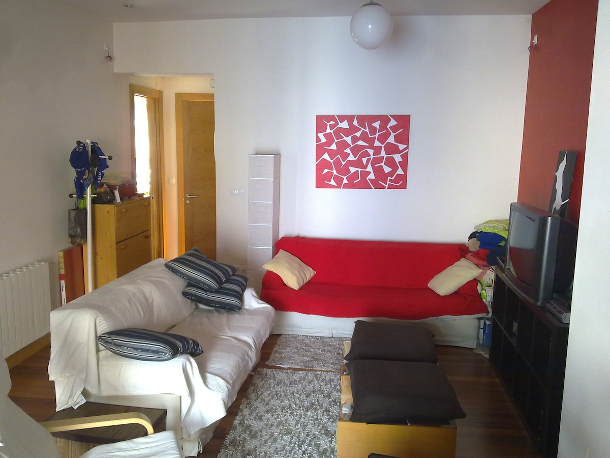 A view of our livingroom, looking towards the bathroom and kitchen to the left, in front of the entrance to the apartment.