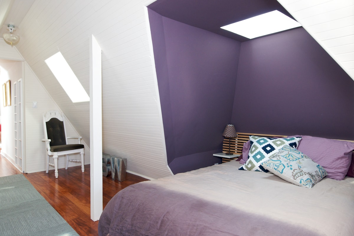 The sleeping nook...queen size bed with skylight for light and air