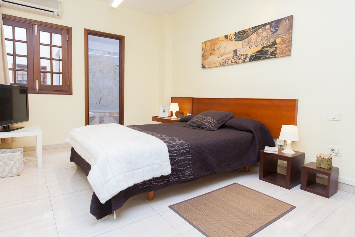 Main double room with bathroom, tv and air condition.