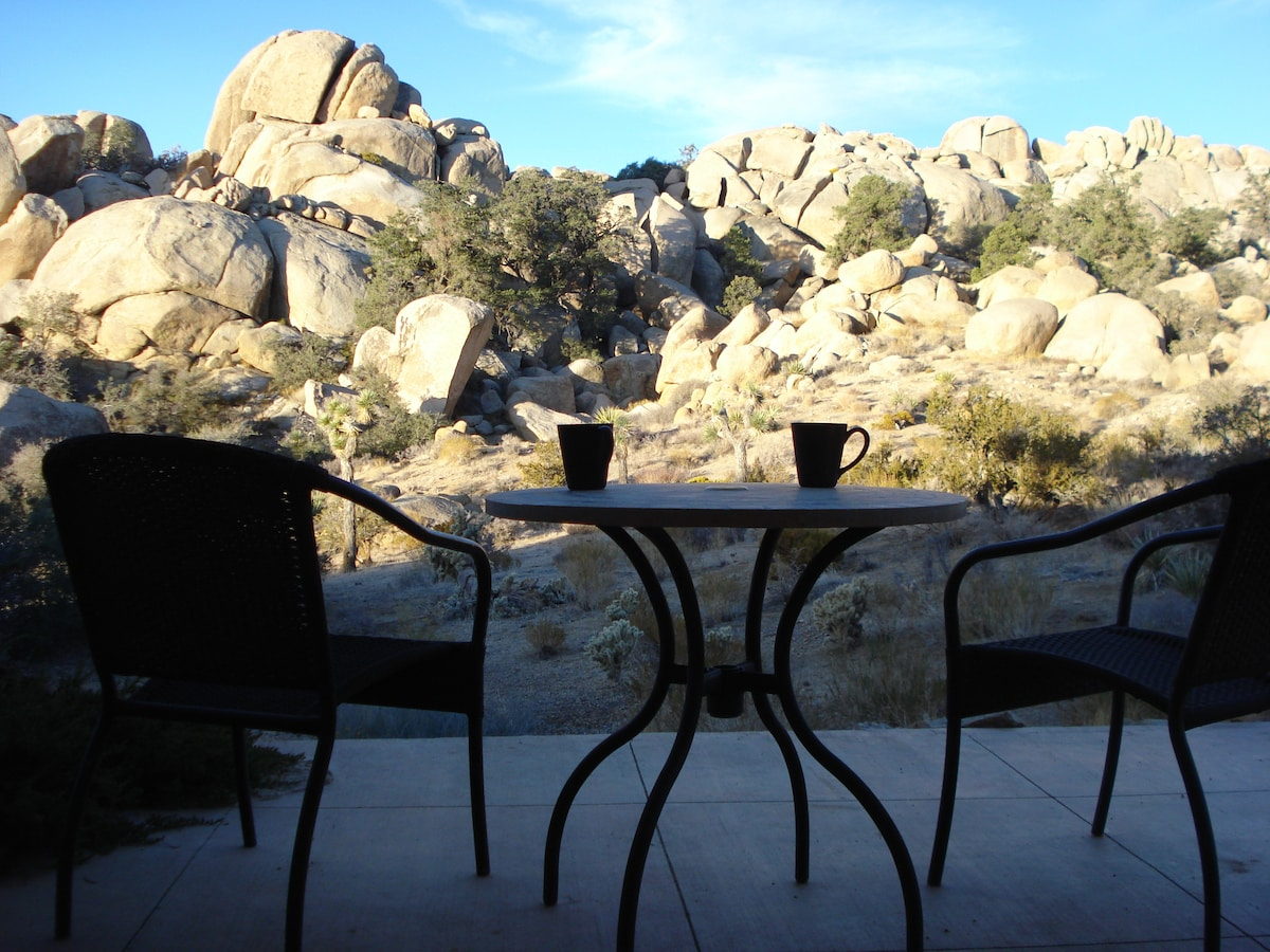 Enjoy your morning coffee gazing out at your private valley of boulders...