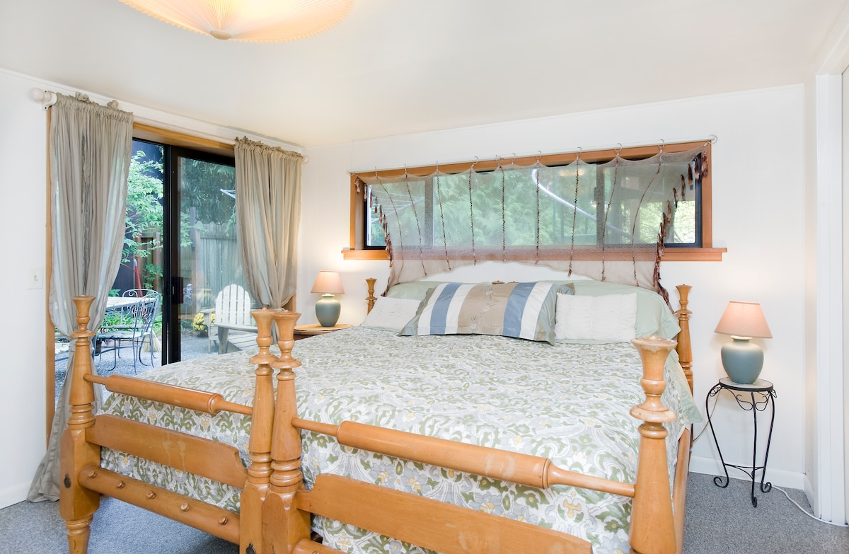 Luxurious King bed, with new mattresses, locally made with sustainable & organic components.