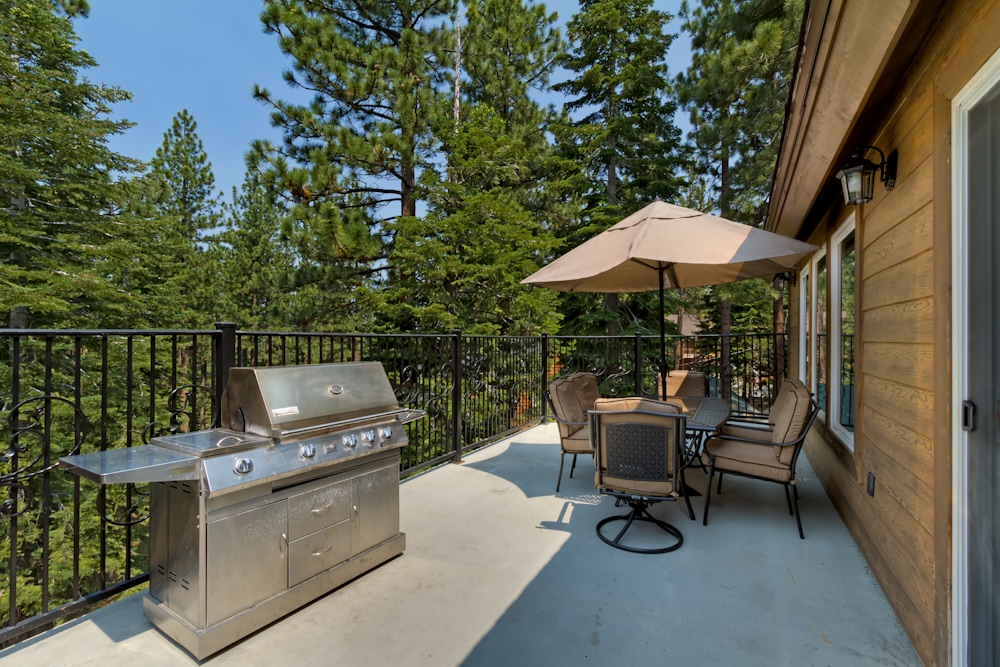 Stainless steel grill and outdoor seating for summer barbeques!