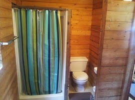 Small and well functioning bathroom.  Hot water on demand - Woot!
