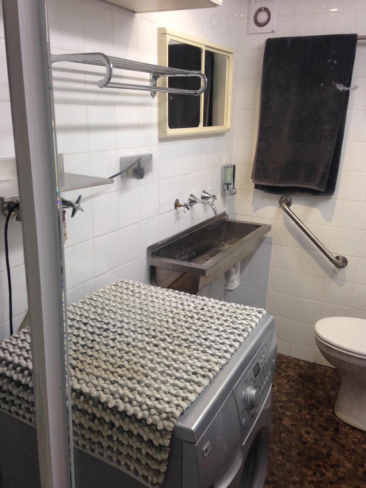 Wshing machine and trough in 2nd Bathroom