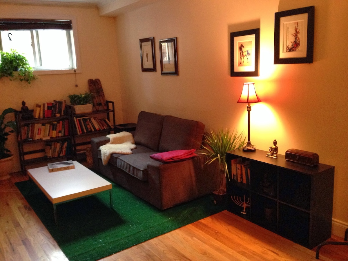 comfortable couch and, yes plenty of books you can borrow