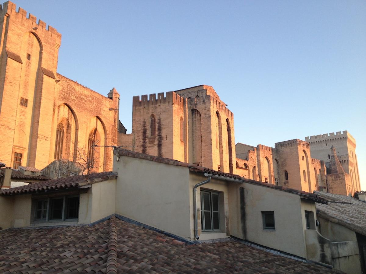 Vue sur le palais des papes depuis la chambre