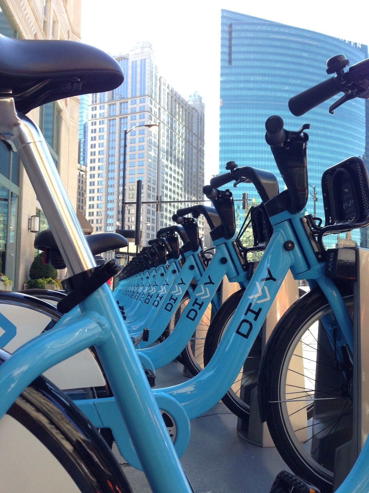 Divvy Bike Sharing station conveniently located in the corner to explore the city